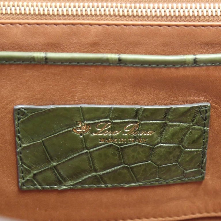 2000s Loro Piana Green Crocodile Leather Handbag For Sale 4