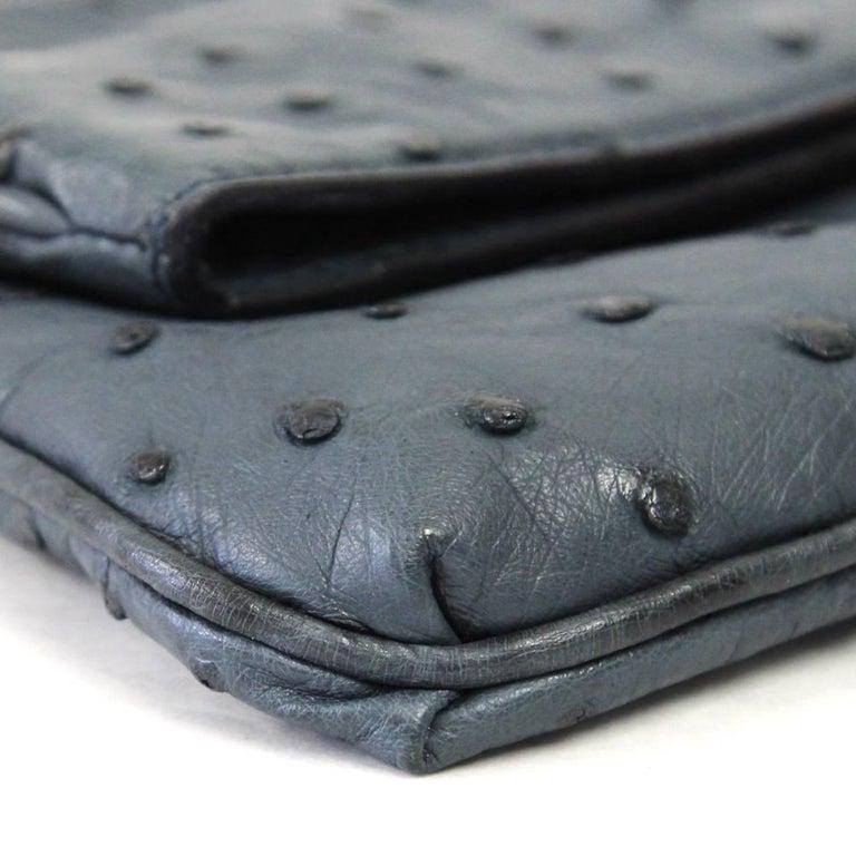 2000s Loro Piana Ostrich Leather Clutch For Sale 2