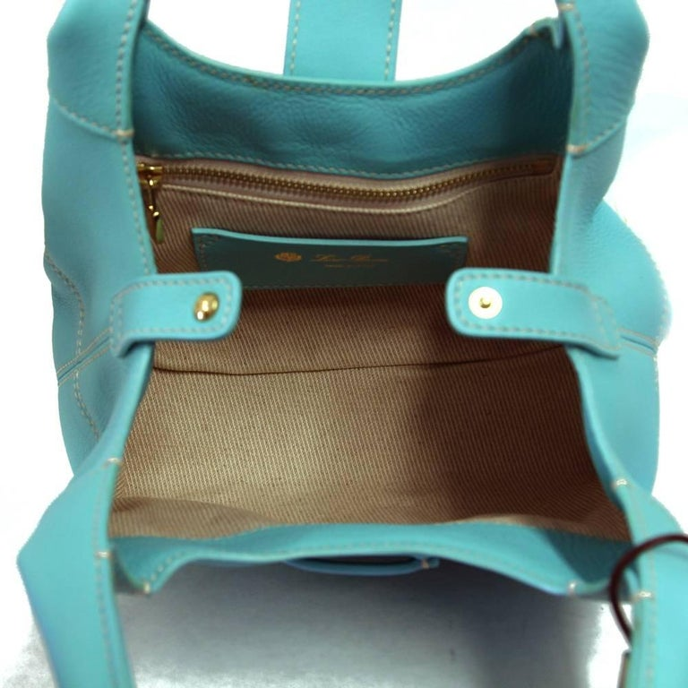 2000s Loro Piana Turquoise Purse For Sale 1