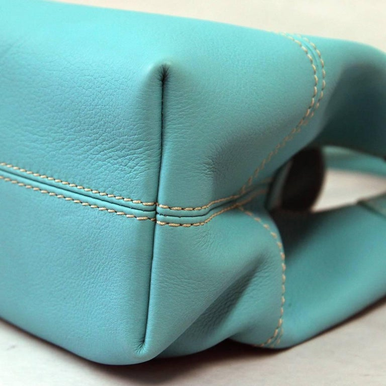 2000s Loro Piana Turquoise Purse For Sale 2