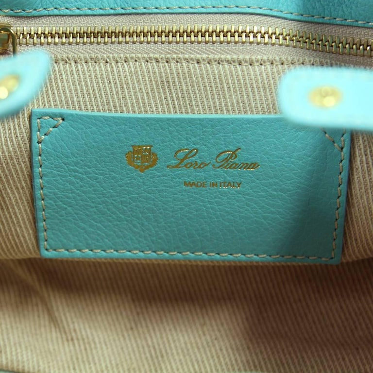 2000s Loro Piana Turquoise Purse For Sale 3