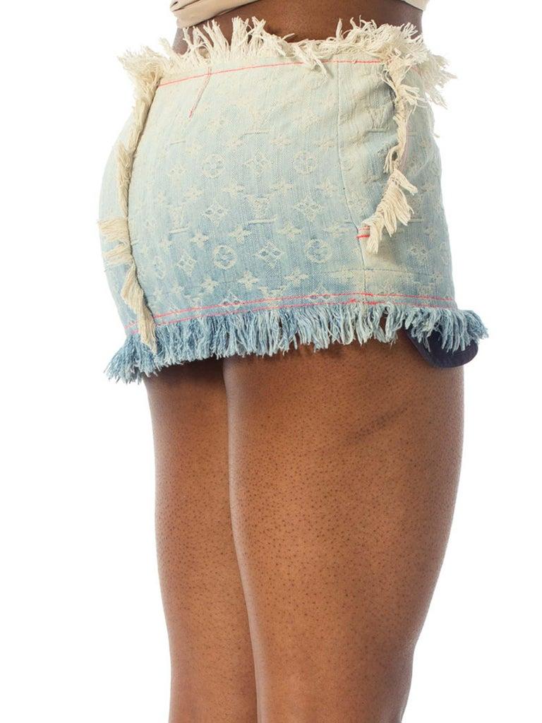 Women's 2000S Louis Vuitton Cotton Denim Lv Logo Jacquard Micro Mini Skirt For Sale
