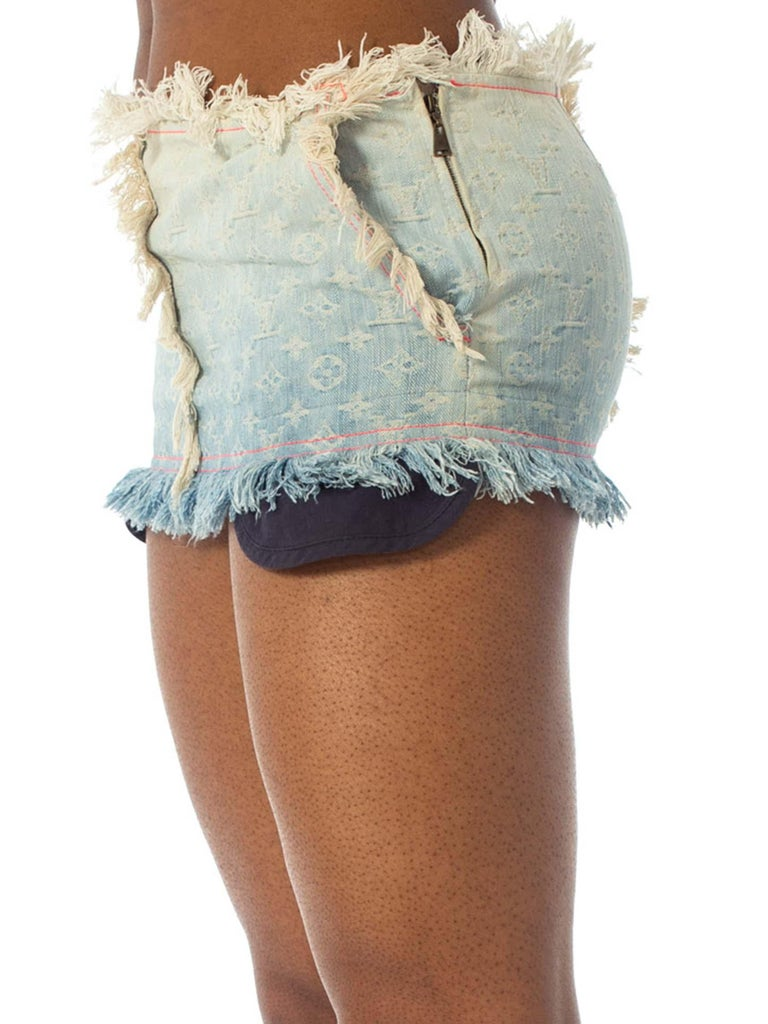 2000S Louis Vuitton Cotton Denim Lv Logo Jacquard Micro Mini Skirt For Sale 1