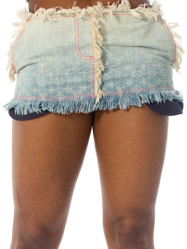 2000S Louis Vuitton Cotton Denim Lv Logo Jacquard Micro Mini Skirt For Sale 2