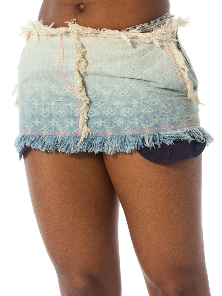 2000S Louis Vuitton Cotton Denim Lv Logo Jacquard Micro Mini Skirt For Sale 4