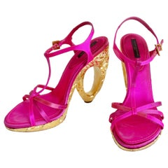Louis Vuitton 2000s Fuchsia Satin Pumps With Textured Gold Heels