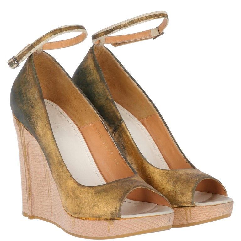 Women's 2000s Maison Martin Margiela Leather Wedge Shoes For Sale