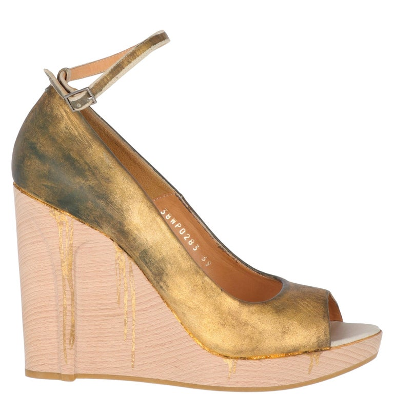 Brown 2000s Maison Martin Margiela Leather Wedge Shoes For Sale