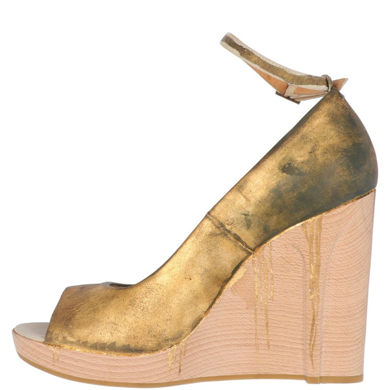 2000s Maison Martin Margiela Leather Wedge Shoes In Excellent Condition For Sale In Lugo (RA), IT