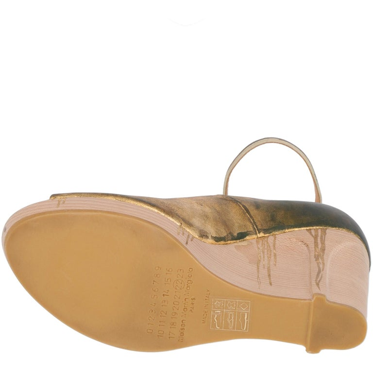 2000s Maison Martin Margiela Leather Wedge Shoes For Sale 3