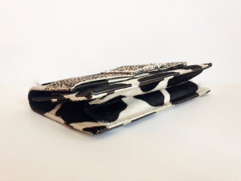 2000s Manolo Blahnik Mixed Animal Print Calf Hair Clutch  In Good Condition For Sale In Scottsdale, AZ