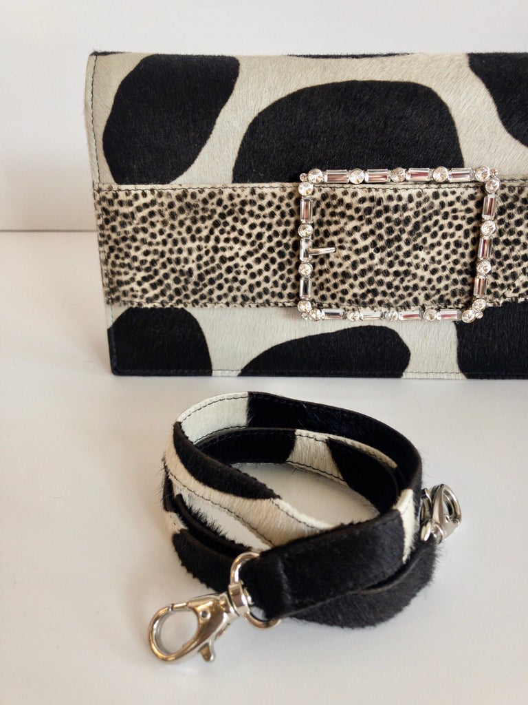 Women's or Men's 2000s Manolo Blahnik Mixed Animal Print Calf Hair Clutch  For Sale