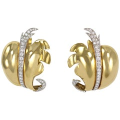 2000s Marilyn Cooperman Diamond, Gold and Platinum Earclips