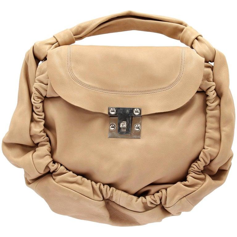 2000s Marni Beige Leather Design Bag For Sale