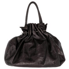 2000s Marni Black Leather Tote Bag