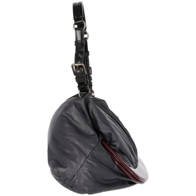 Black 2000s Marni Blue Nappa Leather Tote Bag For Sale