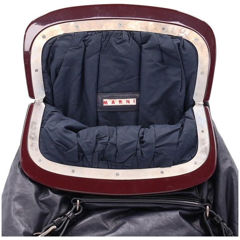 2000s Marni Blue Nappa Leather Tote Bag For Sale 2