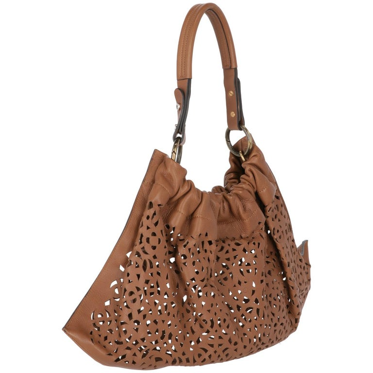 2000s Marni Brown Cutout Leather Bag In Excellent Condition For Sale In Lugo (RA), IT