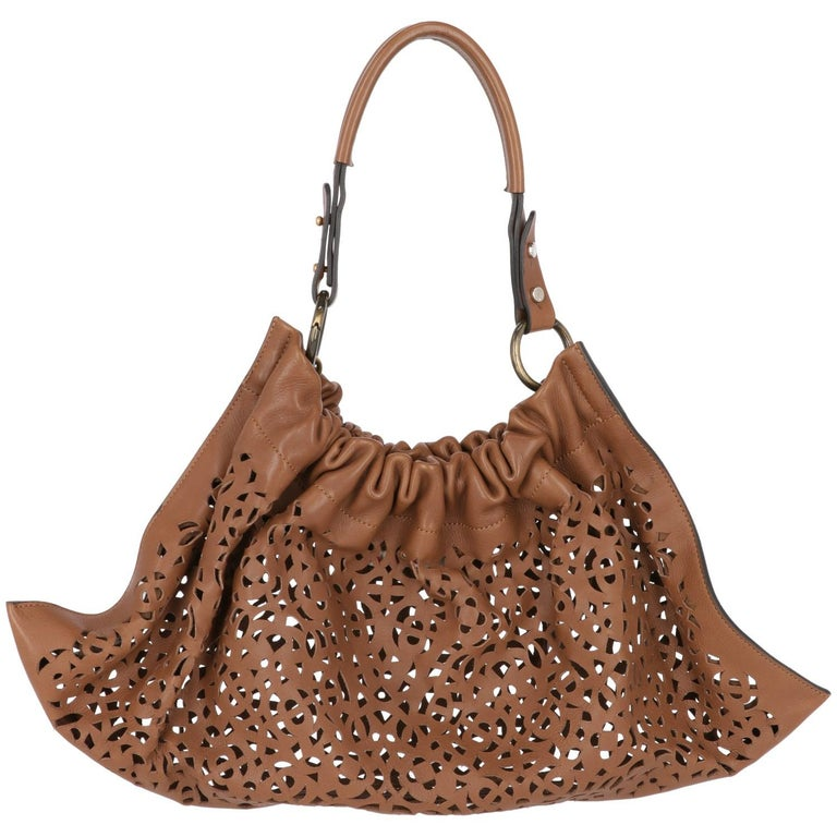 2000s Marni Brown Cutout Leather Bag For Sale 1