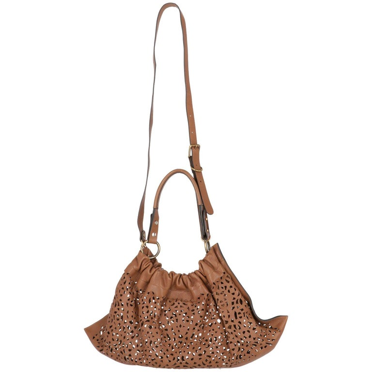 2000s Marni Brown Cutout Leather Bag For Sale