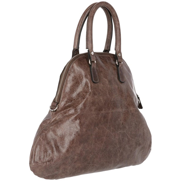 Women's 2000s Marni Brown Genuine Leather Tote Bag For Sale