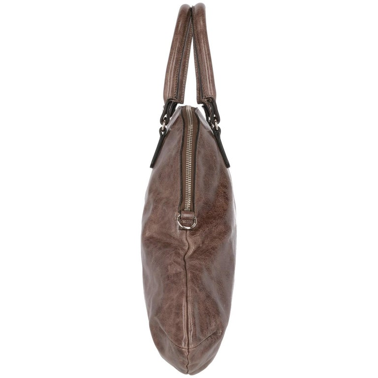 2000s Marni Brown Genuine Leather Tote Bag For Sale 1