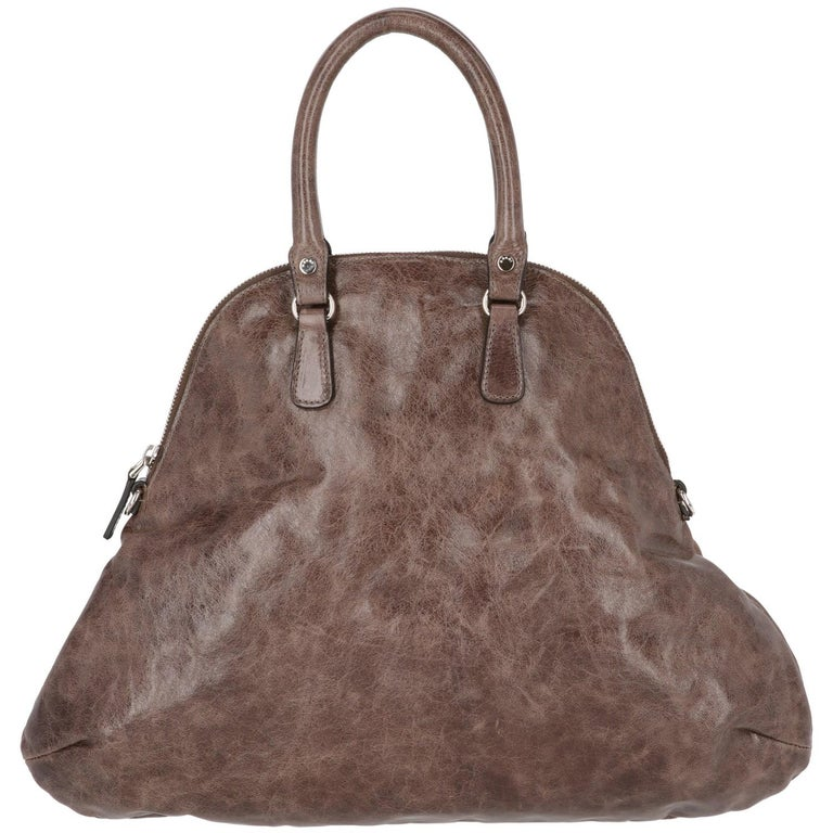 2000s Marni Brown Genuine Leather Tote Bag For Sale 2