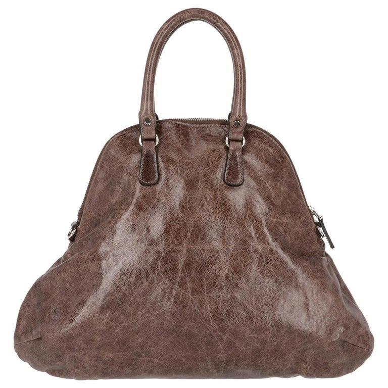 2000s Marni Brown Genuine Leather Tote Bag For Sale