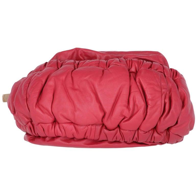 2000s Marni Magenta Leather Design Bag For Sale 5