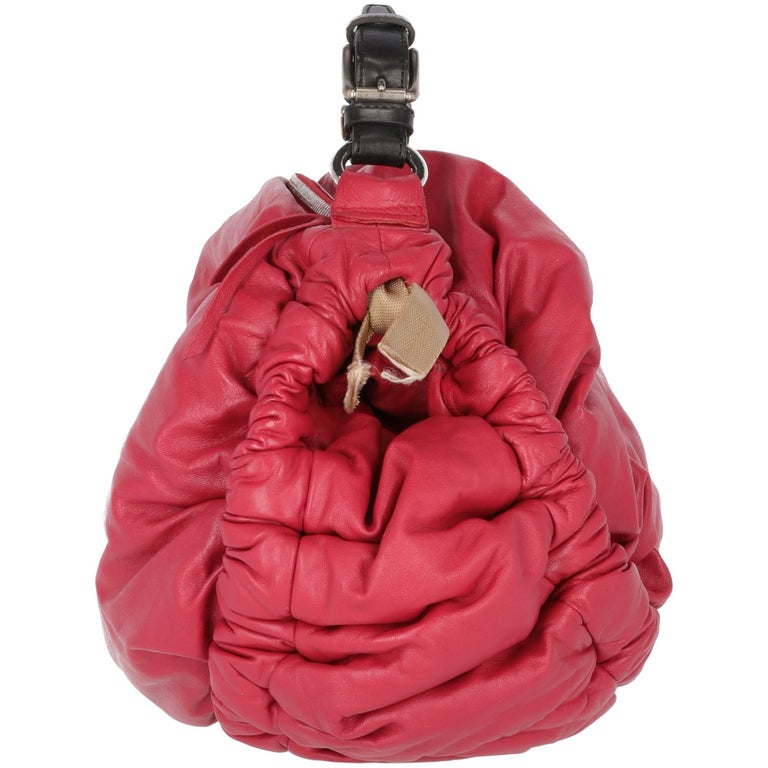Red 2000s Marni Magenta Leather Design Bag For Sale