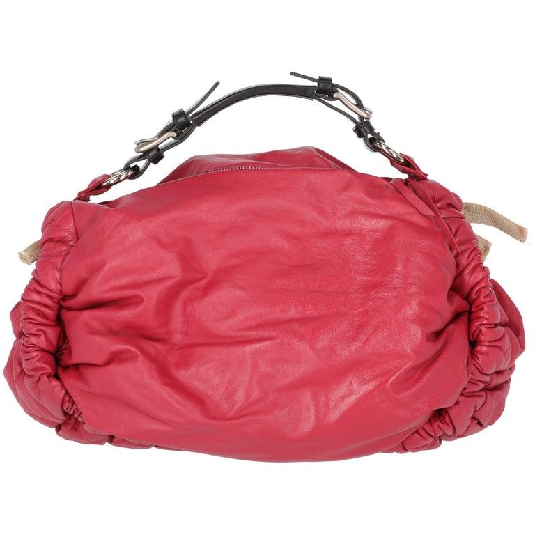 2000s Marni Magenta Leather Design Bag In Fair Condition For Sale In Lugo (RA), IT