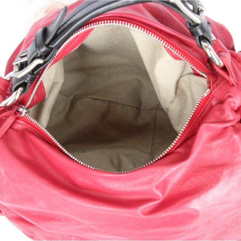 2000s Marni Magenta Leather Design Bag For Sale 3