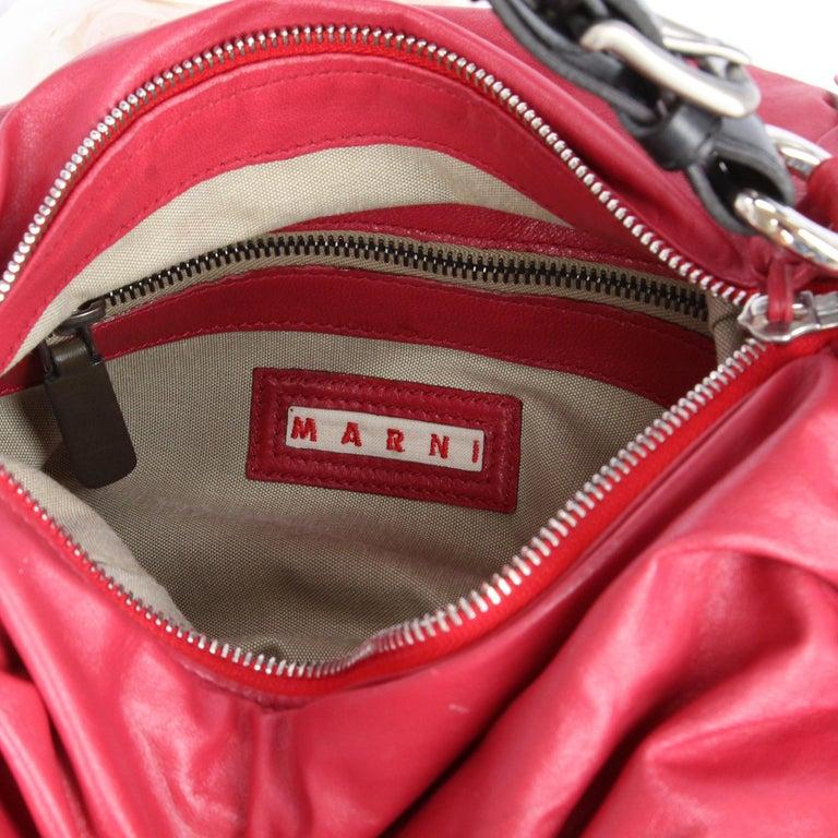2000s Marni Magenta Leather Design Bag For Sale 4