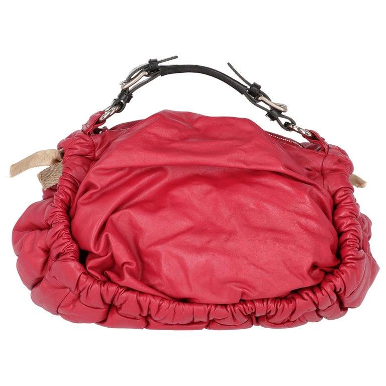 2000s Marni Magenta Leather Design Bag For Sale