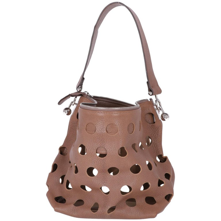 2000s Marni Perforated Brown Leather Tote Bag In Excellent Condition For Sale In Lugo (RA), IT