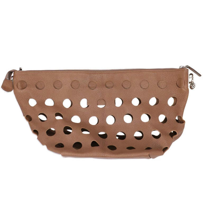 Women's 2000s Marni Perforated Brown Leather Tote Bag For Sale