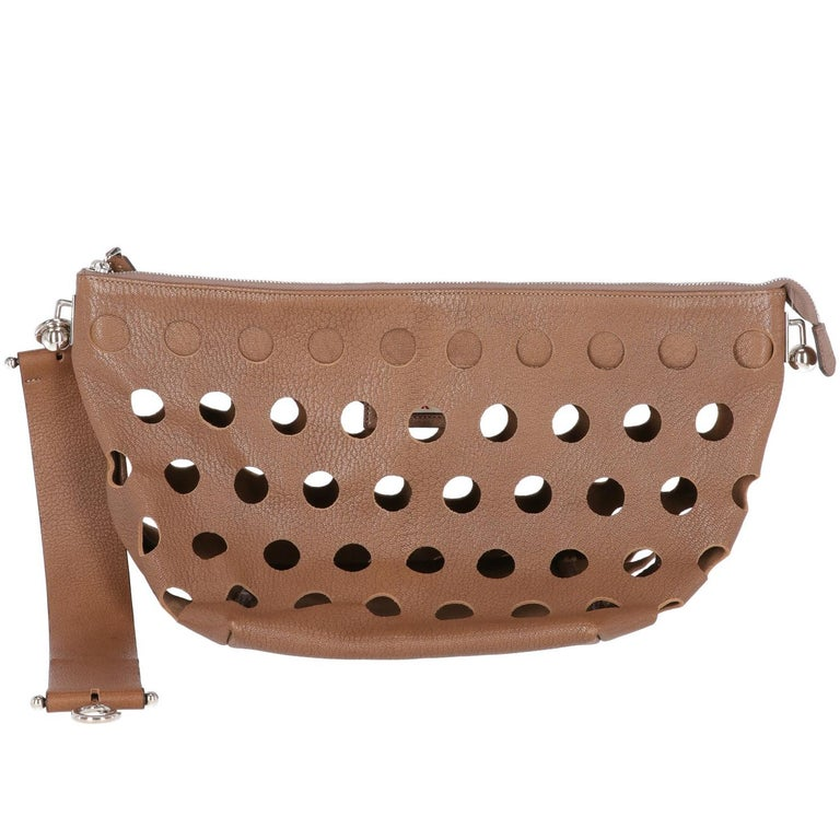 2000s Marni Perforated Brown Leather Tote Bag For Sale 1