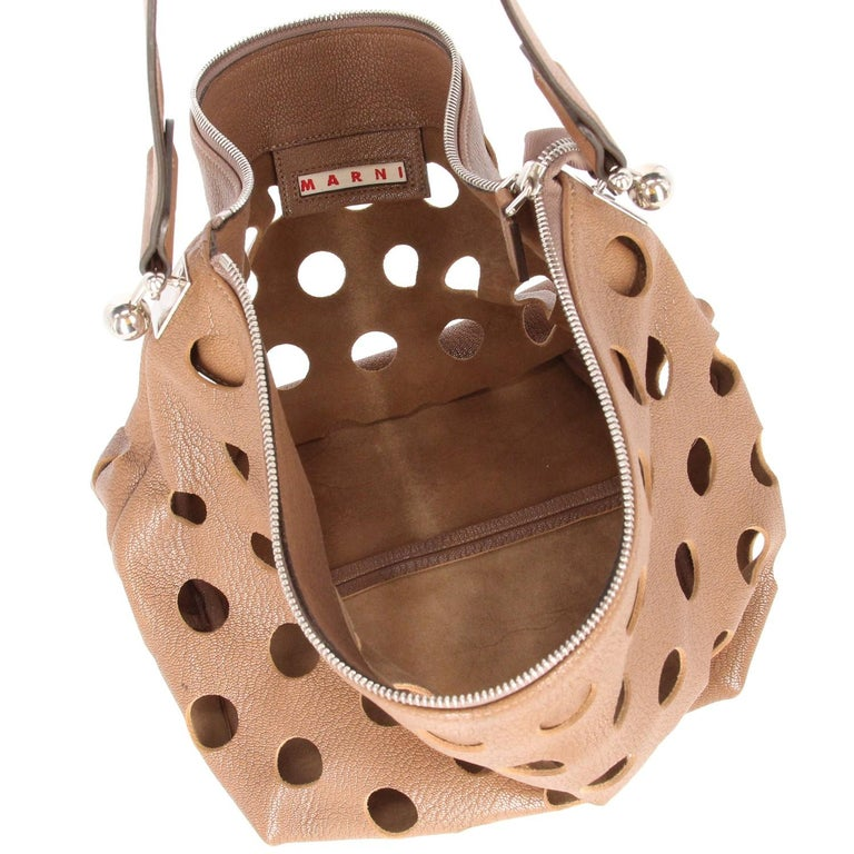 2000s Marni Perforated Brown Leather Tote Bag For Sale 4
