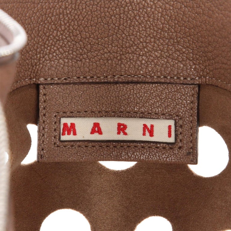 2000s Marni Perforated Brown Leather Tote Bag For Sale 5
