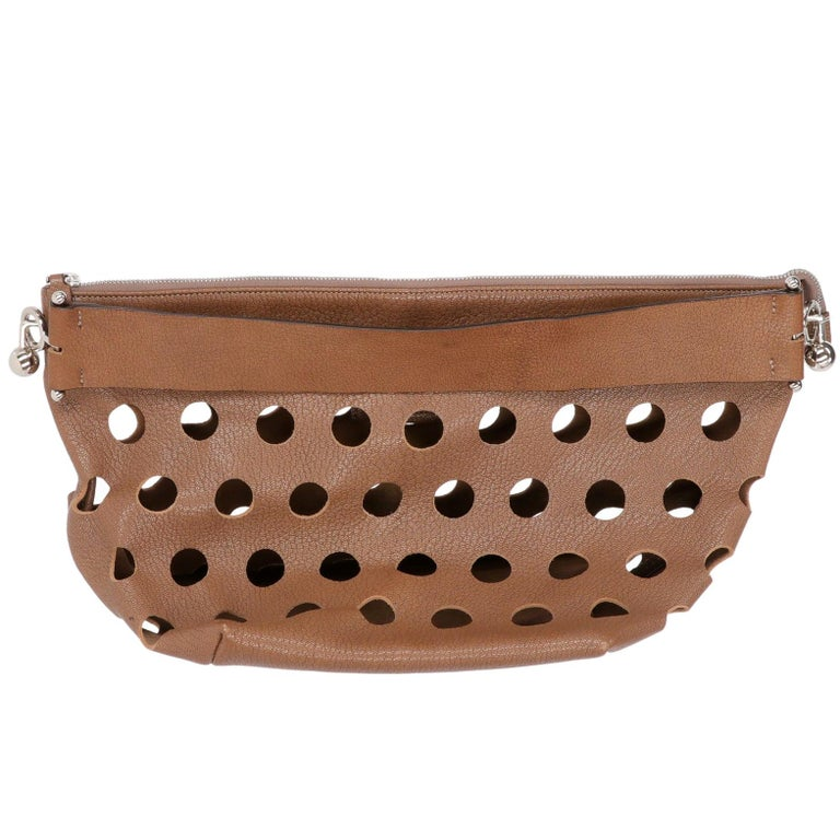 2000s Marni Perforated Brown Leather Tote Bag For Sale