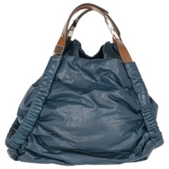 2000s Marni Petroleum Blue Leather Design Bag