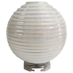 2000s Mid-Century Modern Opalescent Italian Murano Glass Table Lamp, Clear Base
