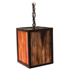 2000s Stained Glass Lantern Pendant Light with Iron Frame Mid-Century Modern