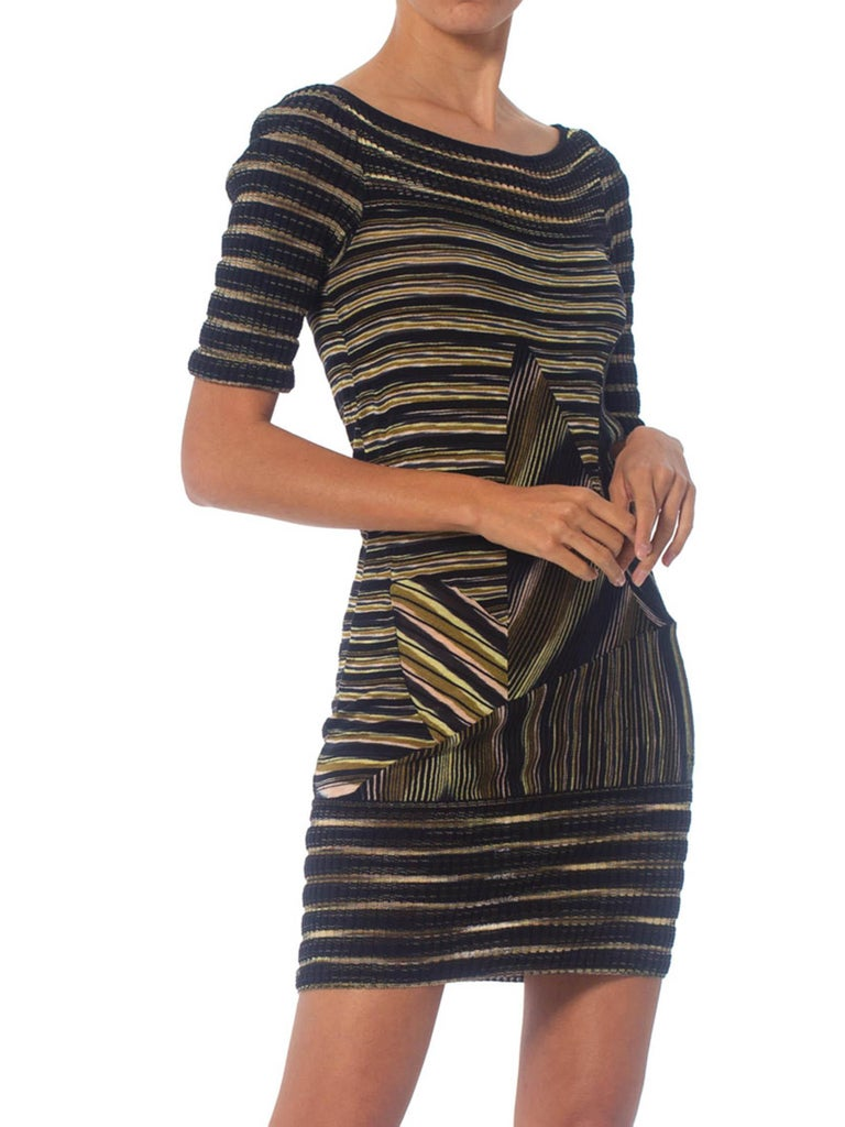 2000S Missoni Rayon Boatneck Pieced Sweater Dress For Sale 2