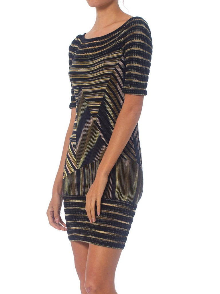 2000S Missoni Rayon Boatneck Pieced Sweater Dress For Sale 4
