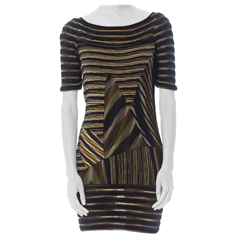 2000S Missoni Rayon Boatneck Pieced Sweater Dress For Sale