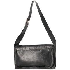 2000s Miu Miu Black Leather Shoulder Bag