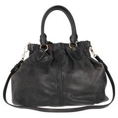 2000s Miu Miu Black Leather Tote Bag