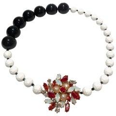 2000s miu miu crystal pendant pearl necklace