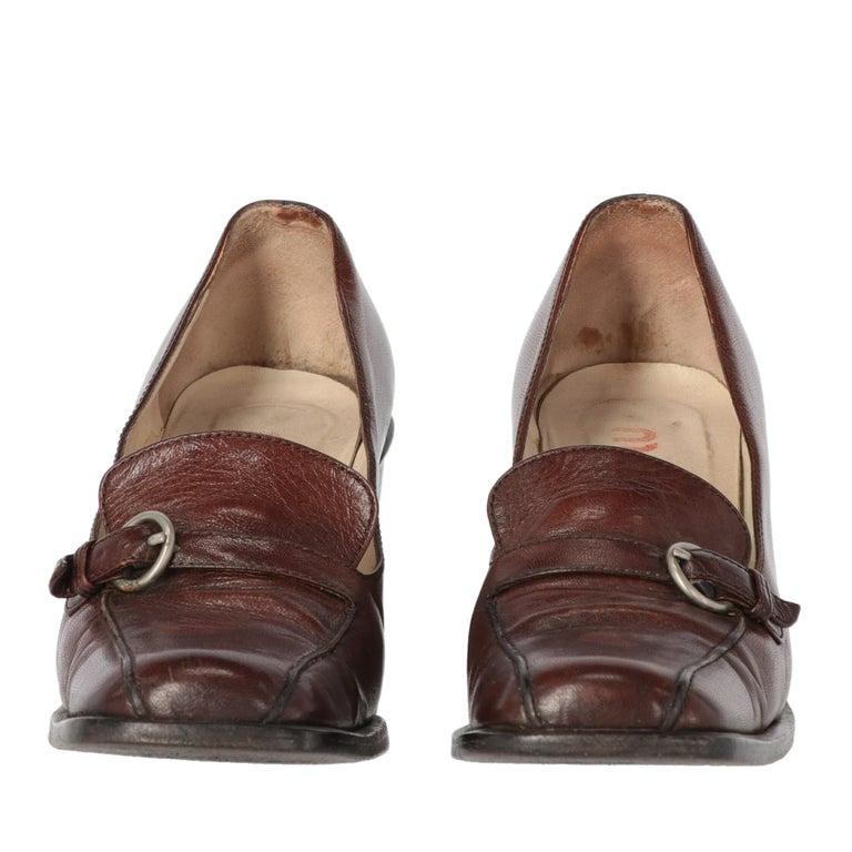 Black 2000s Miu Miu Leather Heeled Loafers For Sale